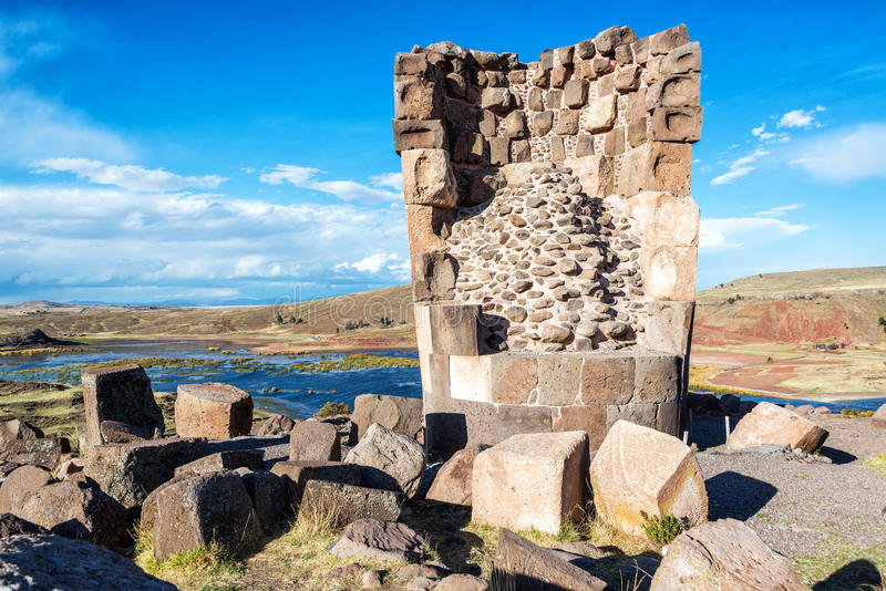 Damaged Funerary Tower stock photography