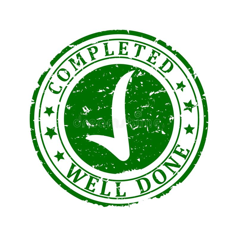 Damaged Green Stamp - completed, well done. Scratched round green stamp with the words - completed, well done - Vector stock illustration