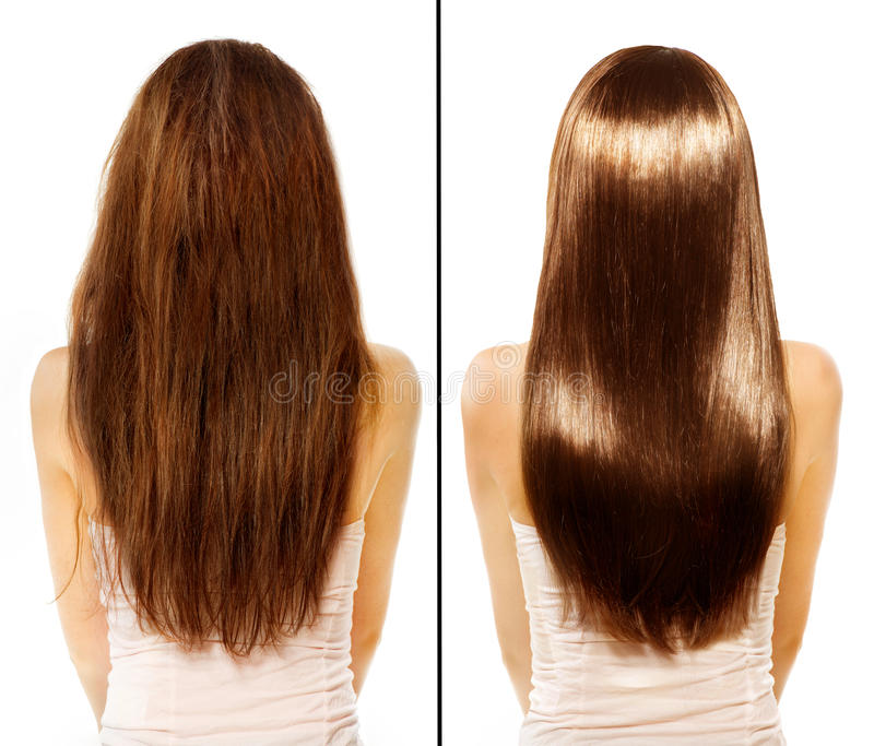 Before And After. Damaged Hair Treatmen Stock Photo - Image of gloss ...