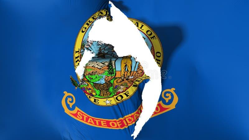 Damaged Idaho state flag. White background, 3d rendering stock illustration