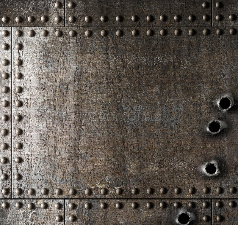 Damaged Metal Background With Bullet Holes Stock Photo