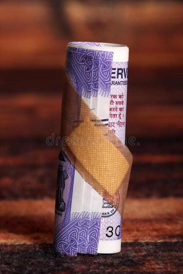 Damaged money stock image