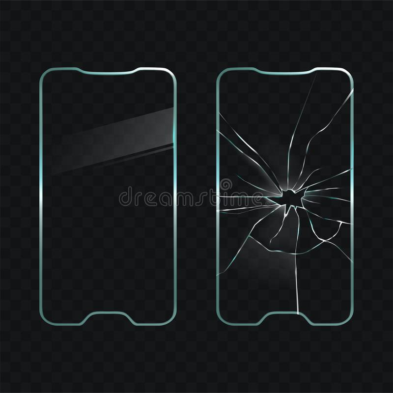 Damaged and new cellphone screen glass vector stock illustration