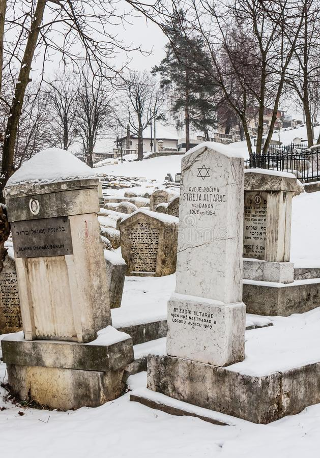 The Damaged OId Jewish Cemetery during siege of Sarajevo by Serbs. royalty free stock images
