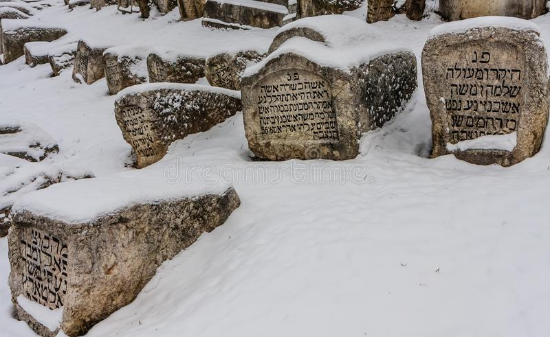The Damaged OId Jewish Cemetery during siege of Sarajevo by Serbs. stock photos