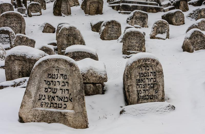 The Damaged OId Jewish Cemetery during siege of Sarajevo by Serbs. stock photography