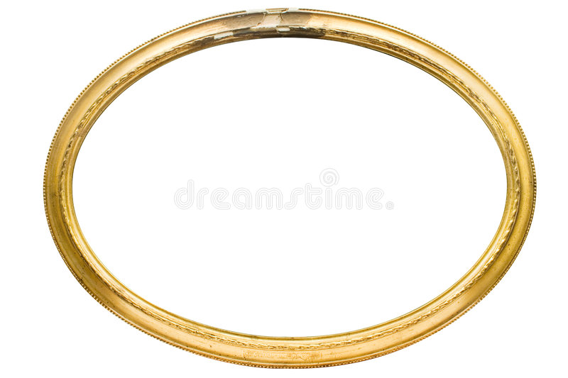 Damaged Oval Picture Frame w/ Path. Empty golden picture frame isolated on white. File contains clipping path stock image