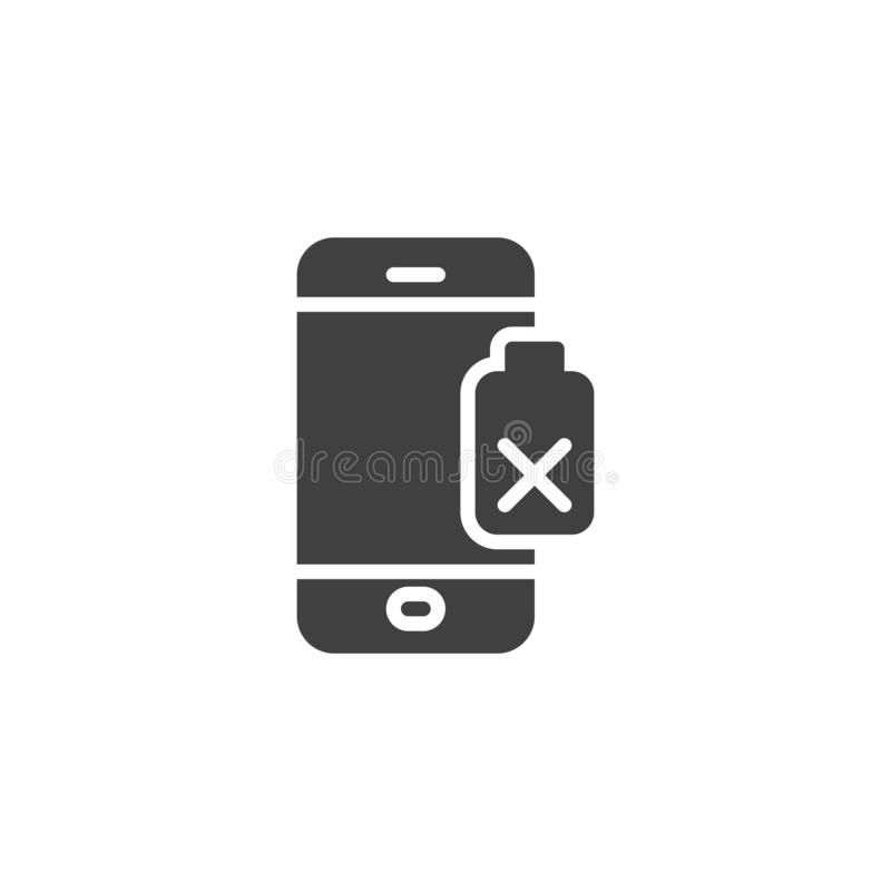 Damaged phone battery vector icon. Filled flat sign for mobile concept and web design. Smartphone battery low glyph icon. Symbol, logo illustration. Vector royalty free illustration