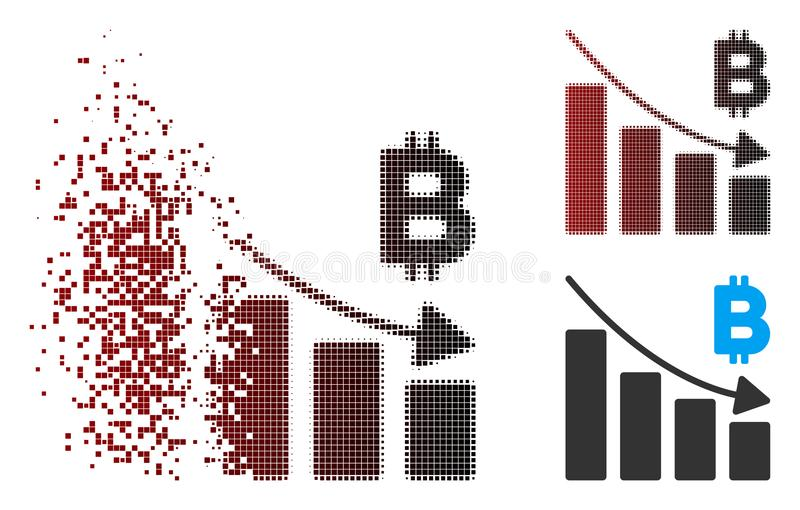 Damaged Pixel Halftone Bitcoin Recession Bar Chart Icon royalty free illustration