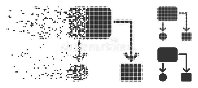 Damaged Pixel Halftone Flow Chart Icon royalty free illustration