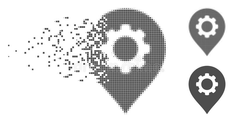 Damaged Pixel Halftone Gear Factory Marker Icon. Grey vector gear factory marker icon in fractured, pixelated halftone and undamaged solid versions. Disappearing stock illustration