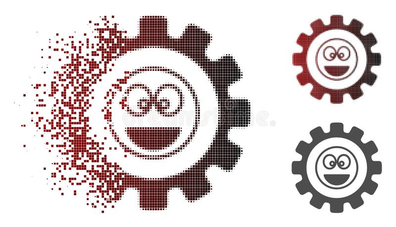 Damaged Pixel Halftone Options Gear Laugth Smiley Icon. Options gear laugth smiley icon in dispersed, dotted halftone and undamaged entire versions. Fragments stock illustration