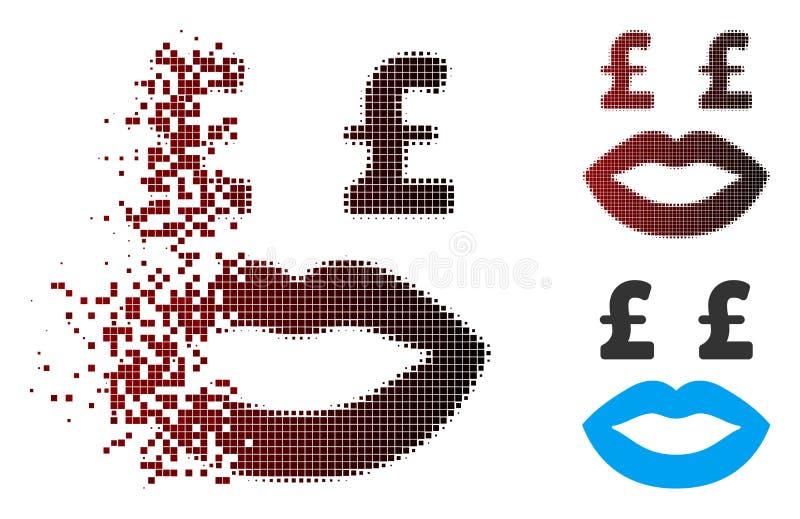 Damaged Pixel Halftone Pound Prostitution Smiley Icon. Vector pound prostitution smiley icon in dissolved, dotted halftone and undamaged entire variants vector illustration
