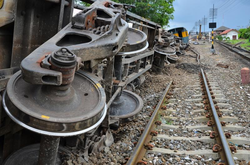 Damaged property of train and rails after train derailed. In Northeast of Thailand royalty free stock photos