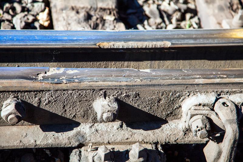 Damaged railroad track stock photo