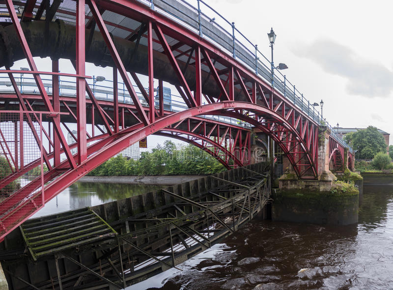 The damaged River Clyde Weir after recent heavy rains. The Weir in Glasgow showing recent flood damage. River level very low with potential for collapse of the stock image