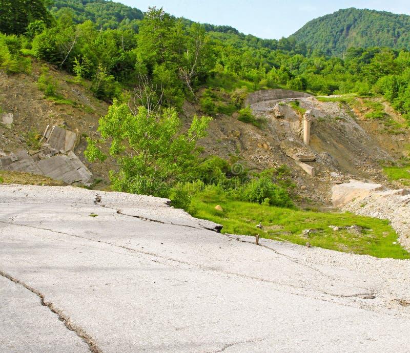 Road Erosion. Damaged Road After Mudslide Landslide Erosion Problem stock image