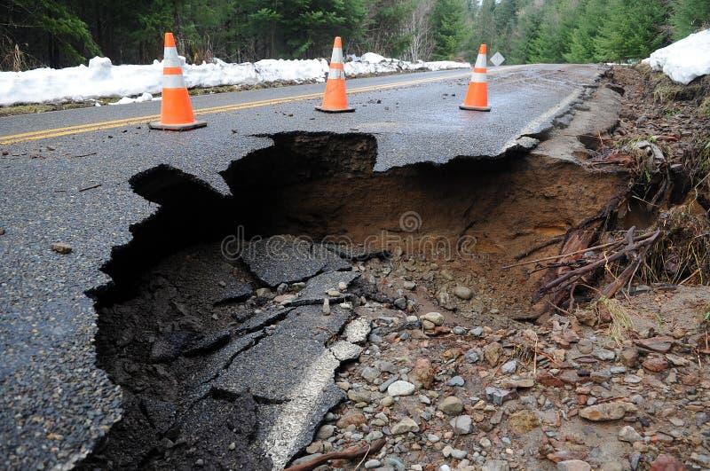 Damaged roadway stock images