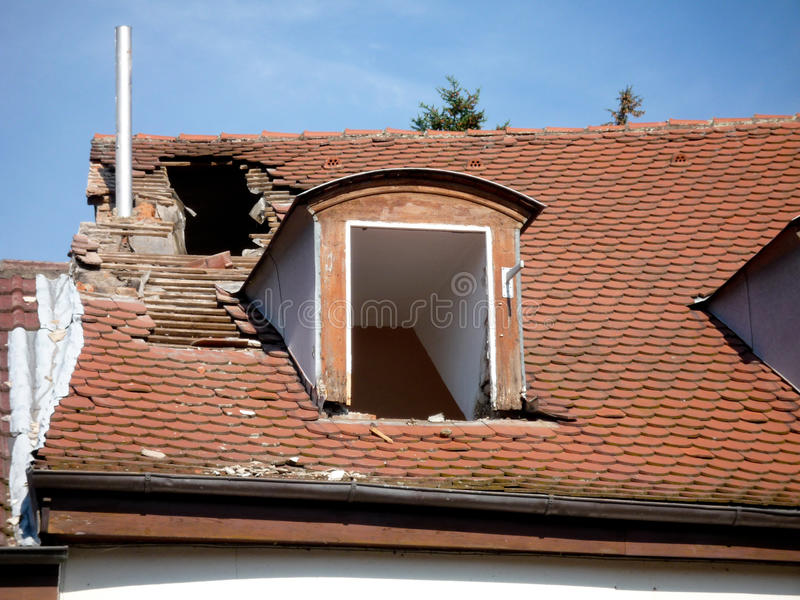 Damaged roof stock photos