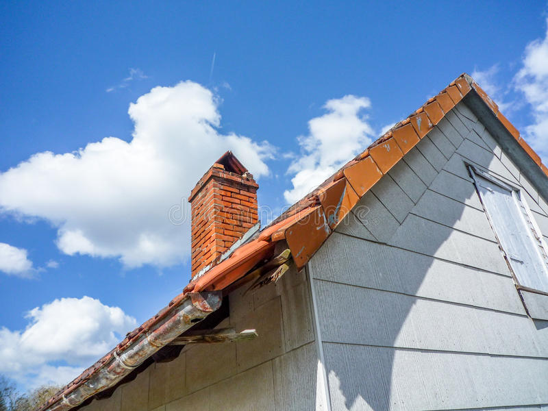 Damaged roof royalty free stock photos