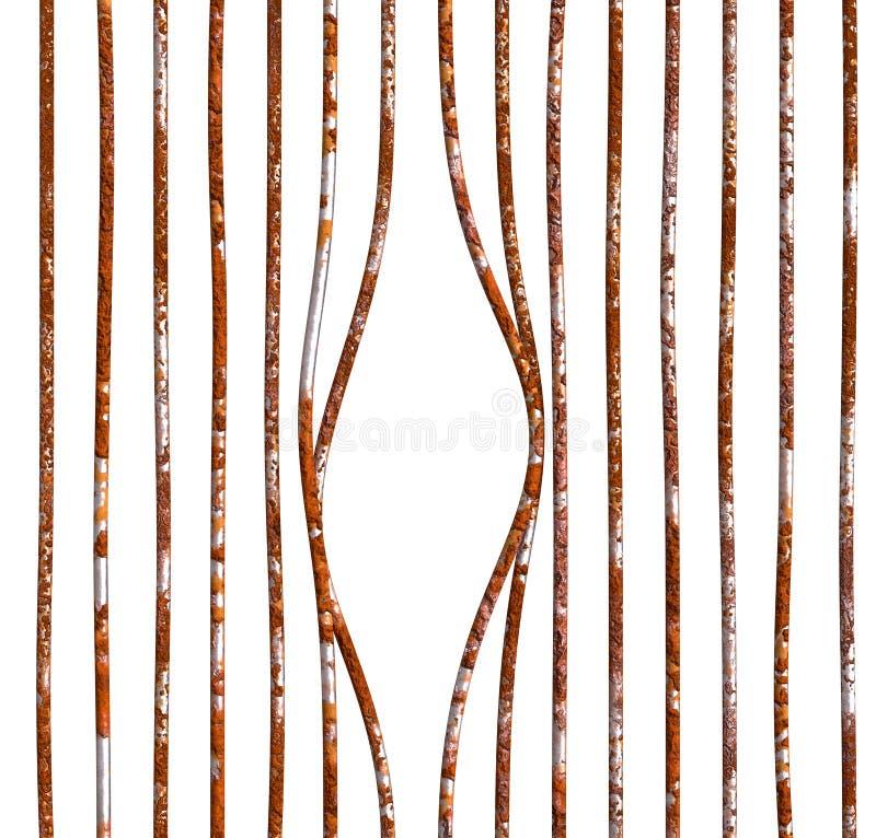 Damaged rust bars empty prison. Broken prison damaged rustic bars. Emptied captive cell twisting bars depicting escaped prisoner or criminal. PNG with vector illustration