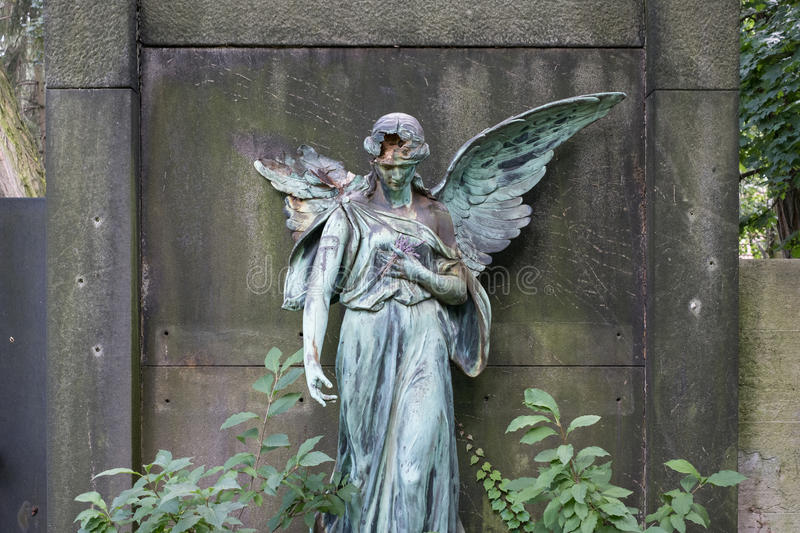 Damaged sculpture of a female angel statue royalty free stock photography