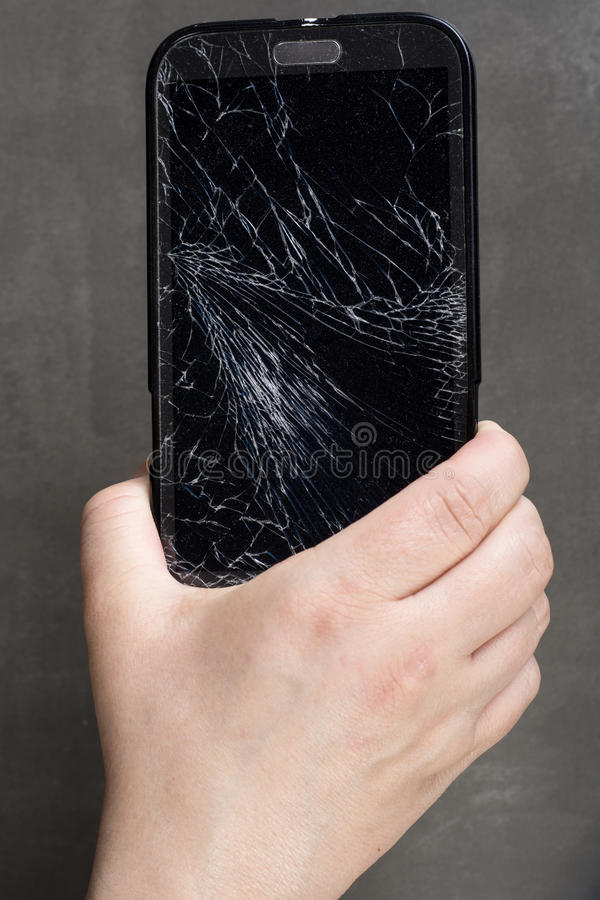 Damaged smartphone royalty free stock photography