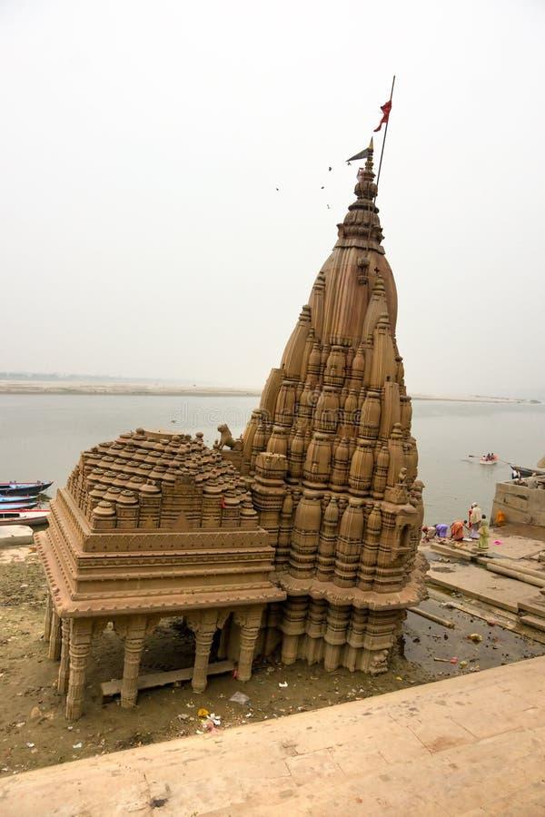 Damaged temple on the Ganges, Varanasi (Benares) stock images