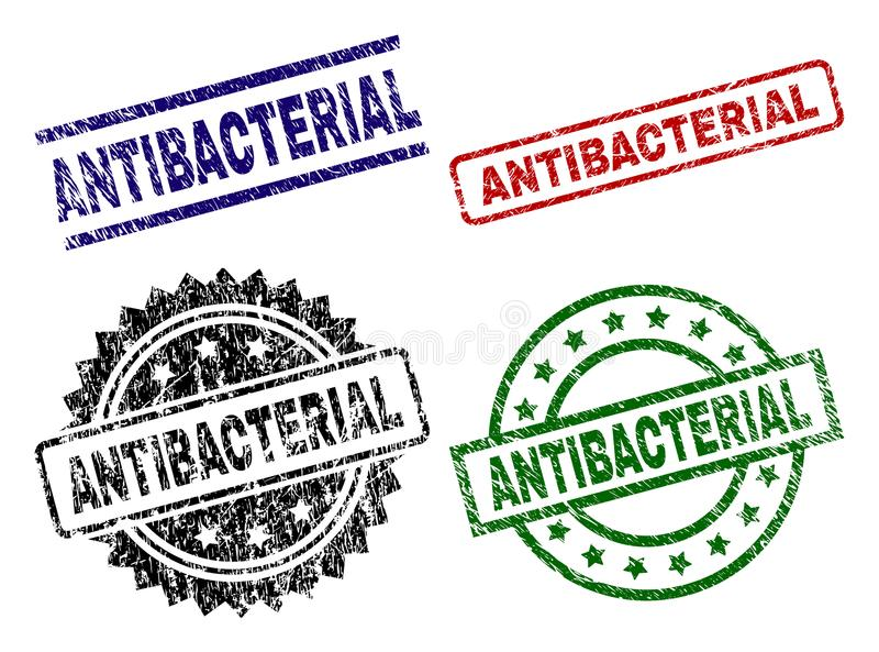 Damaged Textured ANTIBACTERIAL Stamp Seals. ANTIBACTERIAL seal prints with corroded style. Black, green,red,blue vector rubber prints of ANTIBACTERIAL tag with vector illustration