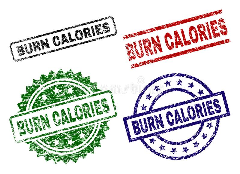 Damaged Textured BURN CALORIES Seal Stamps vector illustration