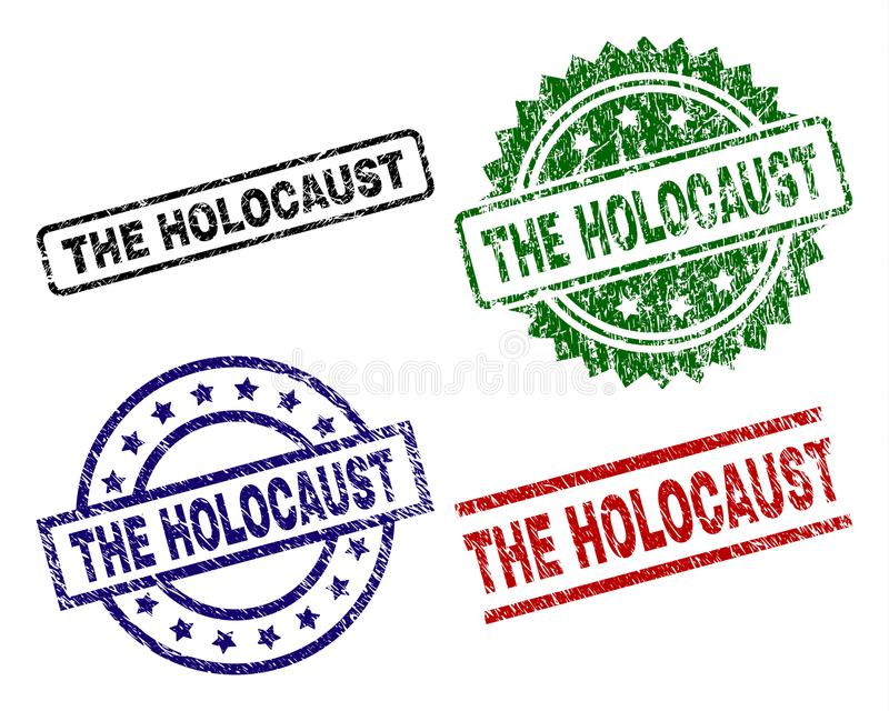 Damaged Textured THE HOLOCAUST Seal Stamps royalty free illustration