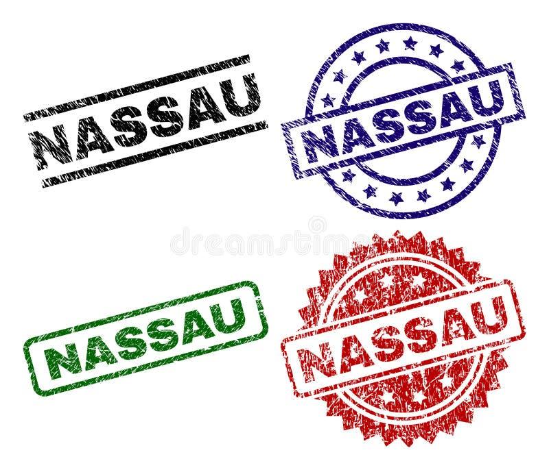 Damaged Textured NASSAU Stamp Seals. NASSAU seal prints with damaged surface. Black, green,red,blue vector rubber prints of NASSAU caption with scratched surface royalty free illustration