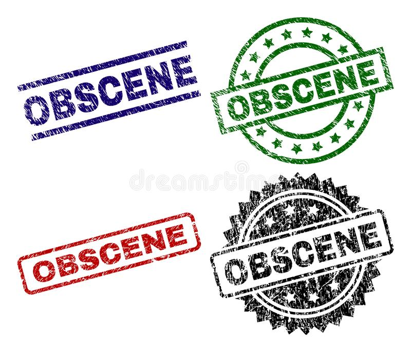 Damaged Textured OBSCENE Seal Stamps. OBSCENE seal prints with damaged surface. Black, green,red,blue vector rubber prints of OBSCENE label with dust surface vector illustration