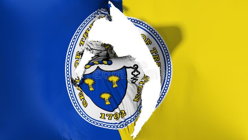 Damaged Trenton capital city flag. Damaged Trenton city, capital of New Jersey state flag, white background, 3d rendering royalty free illustration