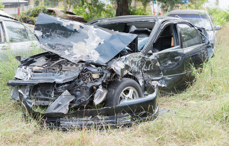 Damaged vehicle after car accident. In Thailand royalty free stock images
