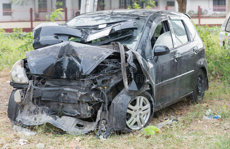 Damaged vehicle after car accident. In Thailand stock photo