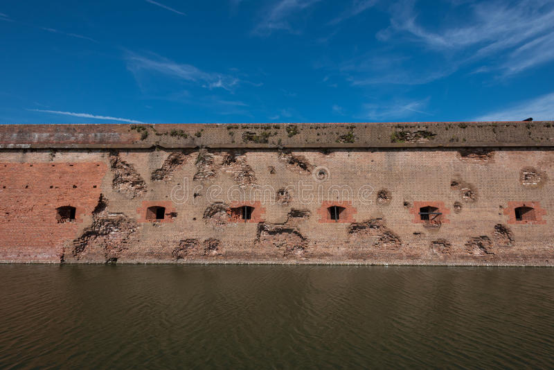 Damaged Wall and Moat at Fort Pulaski stock image