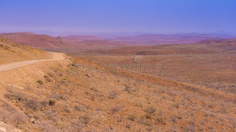 Damaraland. Gravel road to Palmwag in Namibia. royalty free stock photo