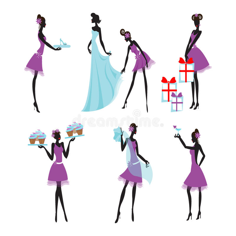 Damas de honor coloridas fijadas libre illustration