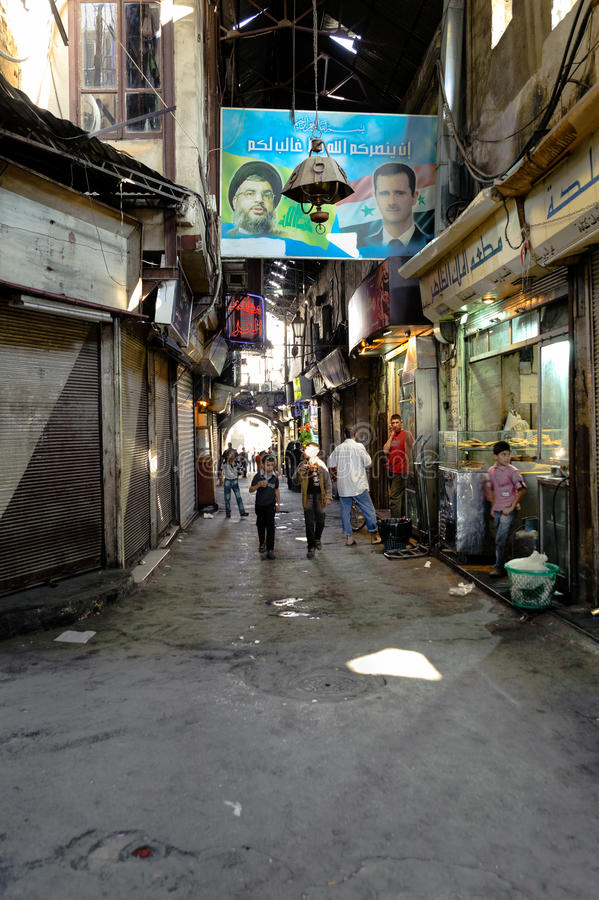 DAMAS, SYRIE - 16 NOVEMBRE 2012 : Un jour ordinaire en Al-Hamidiyah Souq dans la vieille ville de Damas Le bazar est le plus gran images libres de droits