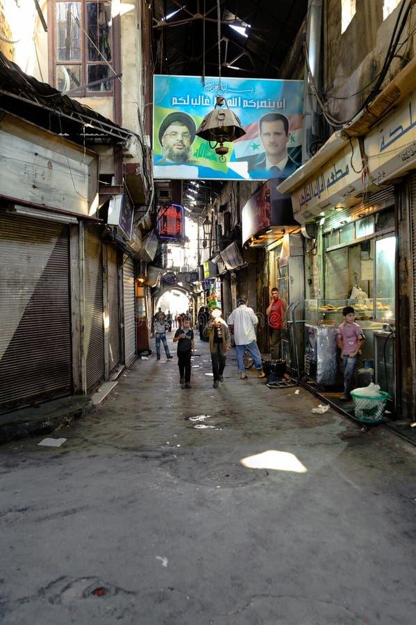 DAMAS, SYRIE - 16 NOVEMBRE 2012 : Un jour ordinaire en Al-Hamidiyah Souq dans la vieille ville de Damas Le bazar est le plus gran image libre de droits