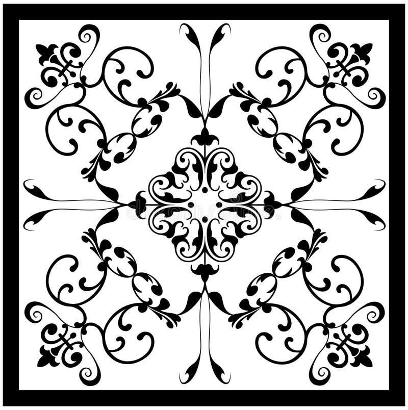 Damasco branco preto cerâmico ilustração royalty free