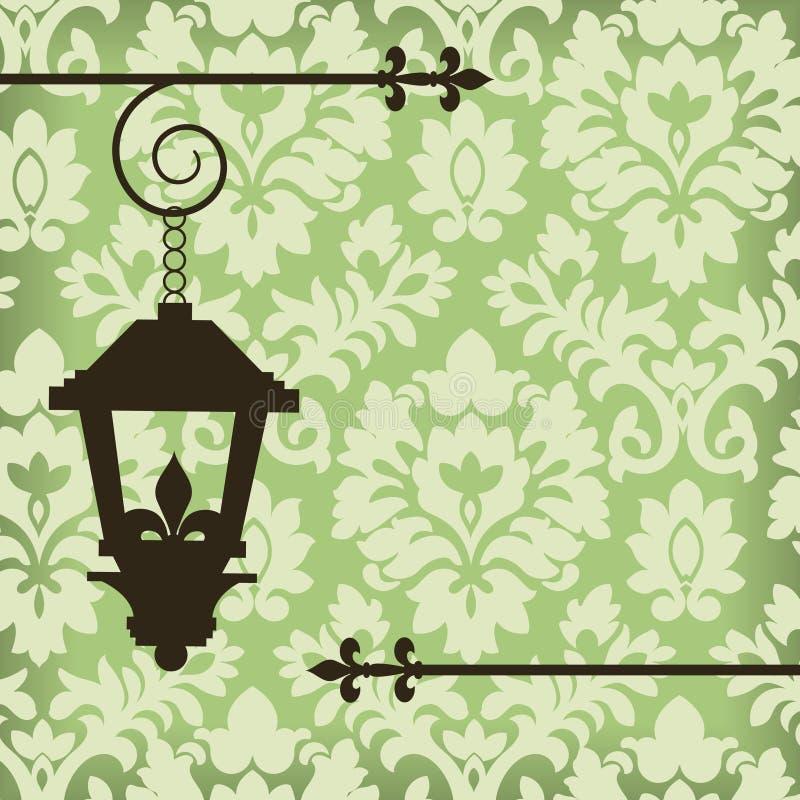 Damasco con la lampada dell'annata royalty illustrazione gratis
