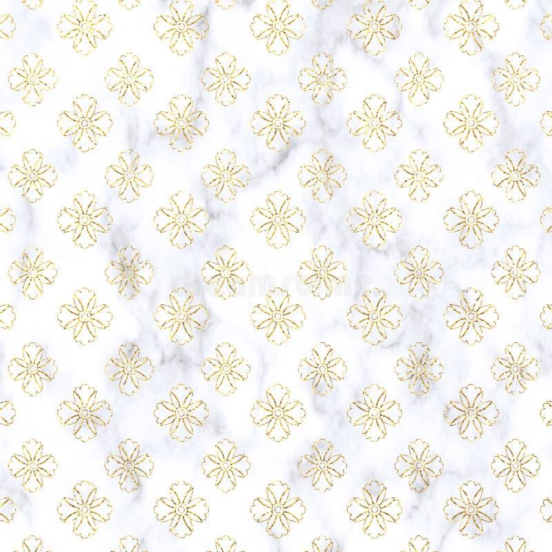 Damasco do brilho do ouro no fundo de mármore Ouro, textura do brilho Teste padrão do mármore do damasco do brilho do ouro Papel  ilustração do vetor
