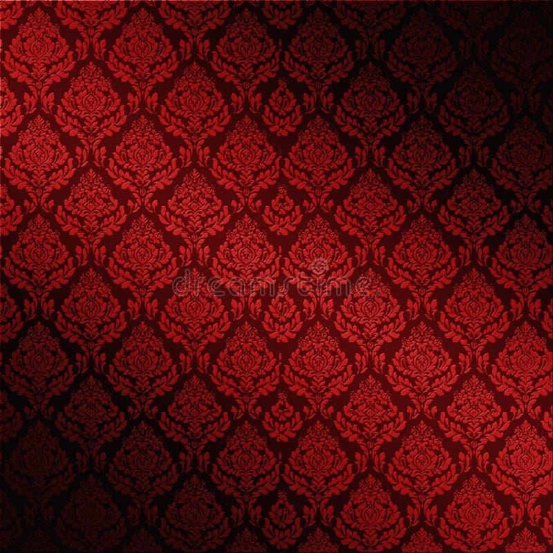 Damasco inconsútil rojo stock de ilustración