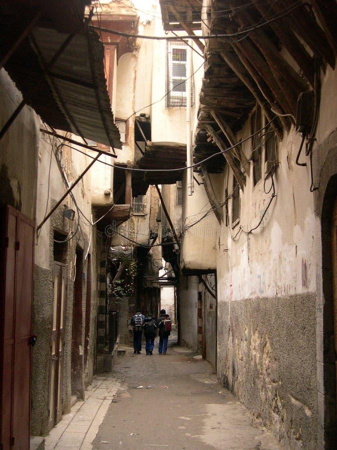 damascus gammal gata royaltyfria bilder