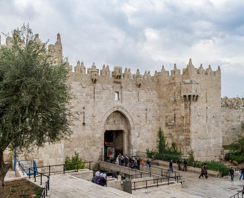 Damascus Gate, Shechem Gate in Jerusalem. JERUSALEM, ISRAEL - DECEMBER 8: Damascus Gate or Shechem Gate, one of the gates to the Old City of Jerusalem, Israel on royalty free stock photography