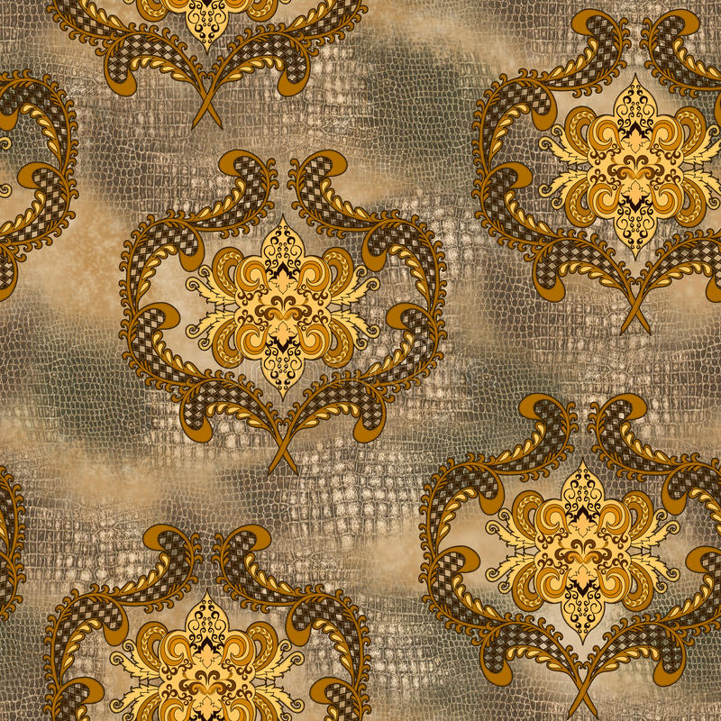 Damascus pattern in yellow and brown colors with fragments of sn royalty free illustration
