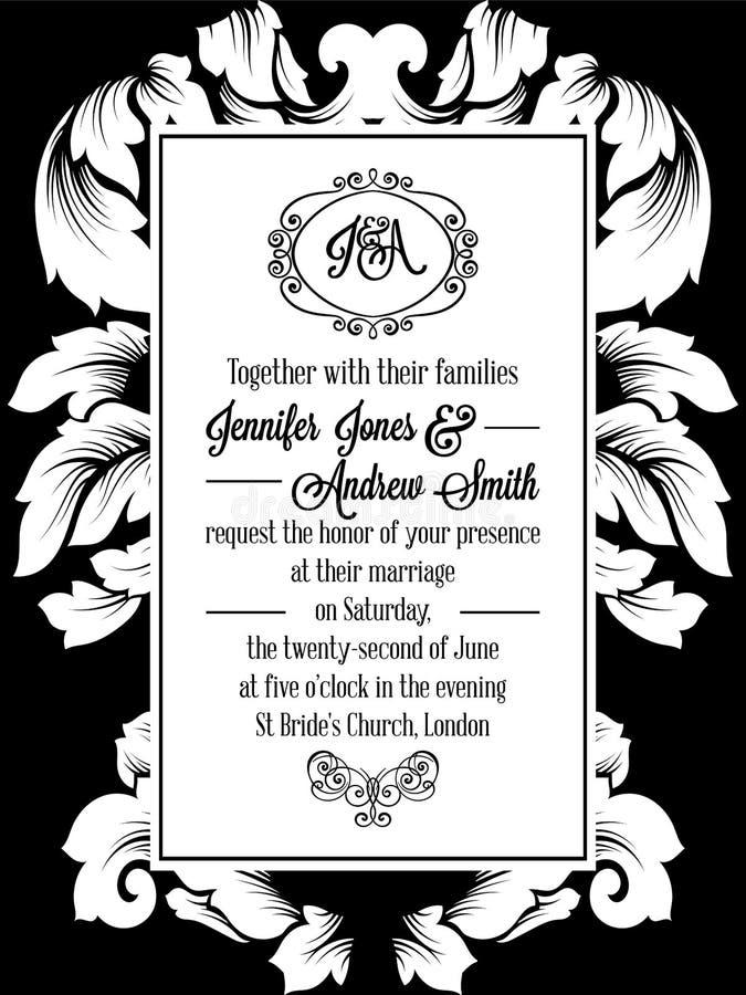 Damask σχέδιο σχεδίων για τη γαμήλια πρόσκληση σε γραπτό Βασιλικό πλαίσιο μπροκάρ και έξοχο μονόγραμμα ελεύθερη απεικόνιση δικαιώματος