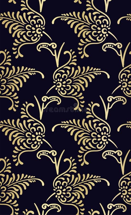 Damask σχεδίου flowery χρυσός σχεδίων πολυτέλειας άνευ ραφής απεικόνιση αποθεμάτων
